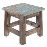Small Recycled Wood Stool with Painted Top